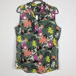 Banana Republic Sleeveless Floral Dillon Shirt NWT